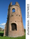 Small photo of Circus of Maxentius old brick tower, along Ancient Appia Way in Rome