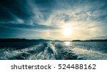motor boat water traces in open ... | Shutterstock . vector #524488162