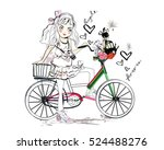 sketch of a cute fashion girl... | Shutterstock .eps vector #524488276
