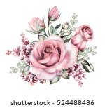 watercolor flowers. floral...   Shutterstock . vector #524488486