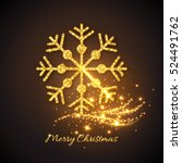 christmas gold snowflake with... | Shutterstock .eps vector #524491762