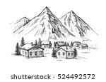 wood cabin in winter landscape... | Shutterstock .eps vector #524492572