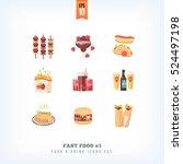 set of vector flat fast food... | Shutterstock .eps vector #524497198