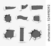 realistic holes in white paper... | Shutterstock .eps vector #524498392