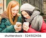 happy girlfriends best friend... | Shutterstock . vector #524502436