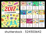 calendar 2017 in cartoon 80s... | Shutterstock .eps vector #524503642