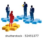people are standing on colored... | Shutterstock .eps vector #52451377