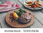 grilled beef steak cooked on...   Shutterstock . vector #524515636