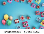 happy birthday and gift box on... | Shutterstock . vector #524517652