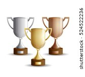 vector set of trophy cups. gold ...