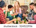 multiracial friends group... | Shutterstock . vector #524522956