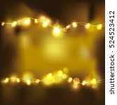 festive gold light on black... | Shutterstock .eps vector #524523412