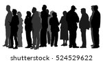 group of people waiting in line ... | Shutterstock .eps vector #524529622