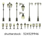 vector set of street lamps and...