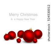 christmas card with red balls. | Shutterstock .eps vector #524530012