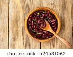 red beans boiled in wooden bowl.... | Shutterstock . vector #524531062