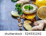 ginger tea in a glass for flu... | Shutterstock . vector #524531242