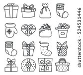 gifts boxes bags socks lineart... | Shutterstock .eps vector #524531446