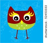 little cute owl tag | Shutterstock .eps vector #52453333