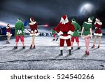 red santa claus on airport and... | Shutterstock . vector #524540266