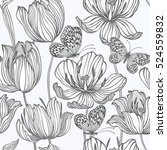 seamless floral pattern with... | Shutterstock .eps vector #524559832