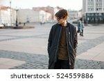 young man in black jacket... | Shutterstock . vector #524559886