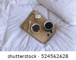 breakfast in bed with coffee... | Shutterstock . vector #524562628