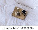 breakfast in bed with coffee... | Shutterstock . vector #524562685