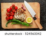 fresh vegetables on the cutting ... | Shutterstock . vector #524563342