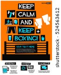 keep calm and keep boxing  flat ... | Shutterstock .eps vector #524563612