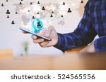 world map connected  social... | Shutterstock . vector #524565556