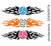 volleyball ball flaming vector... | Shutterstock .eps vector #524565976