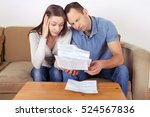 frustrated couple looking at... | Shutterstock . vector #524567836
