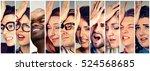 multiethnic group of desperate... | Shutterstock . vector #524568685