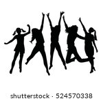 people silhouette jumping.... | Shutterstock .eps vector #524570338
