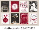 set of christmas cards with... | Shutterstock .eps vector #524575312