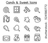 candy   sweet icon set in thin... | Shutterstock .eps vector #524580772