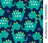 seamless dinosaur pattern vector illustration