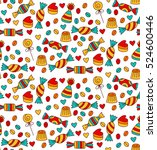 cute doodle hand drawn sweet... | Shutterstock .eps vector #524600446