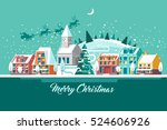 merry christmas  city on winter ... | Shutterstock .eps vector #524606926