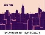 new york cityscape flat vector... | Shutterstock .eps vector #524608675