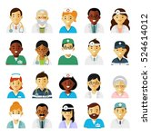 medicine set with doctors and... | Shutterstock .eps vector #524614012