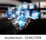 businesswoman connected tech... | Shutterstock . vector #524617348