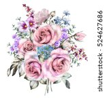 watercolor flowers. floral... | Shutterstock . vector #524627686