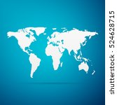 world map flat icon on blue... | Shutterstock . vector #524628715