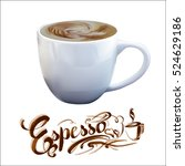 vector cup of espresso coffee | Shutterstock .eps vector #524629186