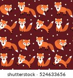 cute fox seamless pattern. foxy ...   Shutterstock .eps vector #524633656