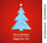christmas card with tree on red ... | Shutterstock .eps vector #524640442