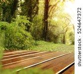 wooden desk and spring garden... | Shutterstock . vector #524647372