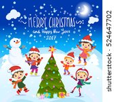 merry christmas and happy new... | Shutterstock .eps vector #524647702
